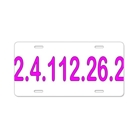2.4.112.56.2 Blue and Pink  Sports Aluminum License Plate by CafePress