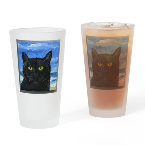 Black Cat at Capitola  Pets Drinking Glass by CafePress