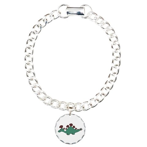 Cartoon Stegosaurus  Funny Charm Bracelet, One Charm by CafePress
