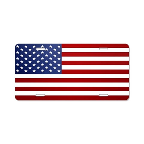 American Flag  Military Aluminum License Plate by CafePress