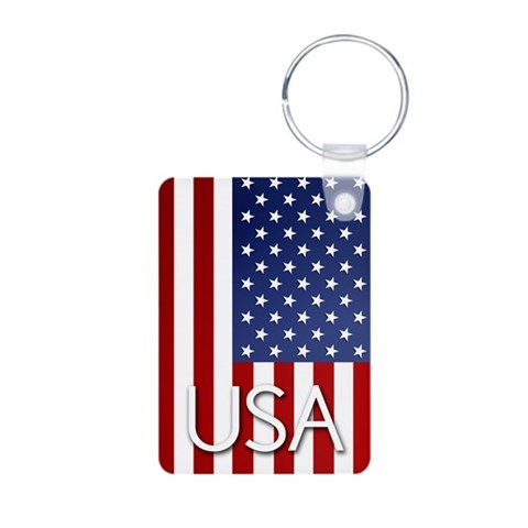 American Flag  Military Aluminum Photo Keychain by CafePress