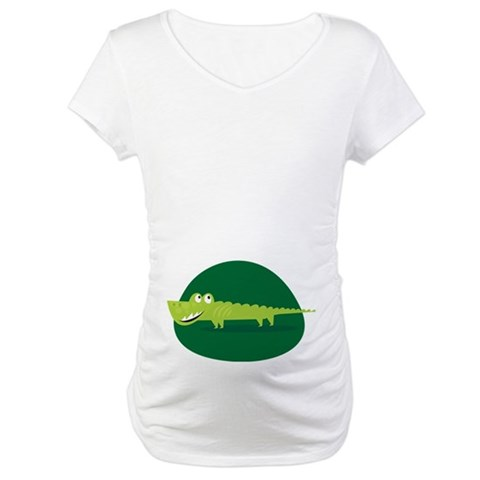 Alligator Belly Print Funny  Funny pregnancy Maternity T-Shirt by CafePress