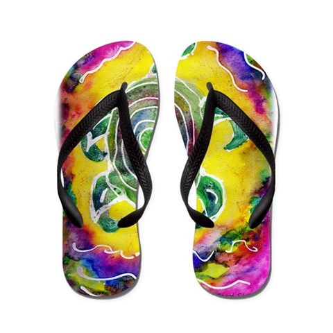 Abstract Turtle  Animal Flip Flops by CafePress