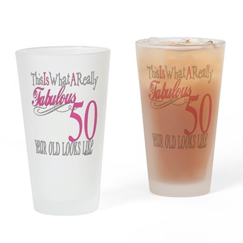 50th Birthday Gifts  Cute Drinking Glass by CafePress