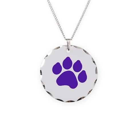 Blue Paw Print  Dog Necklace Circle Charm by CafePress