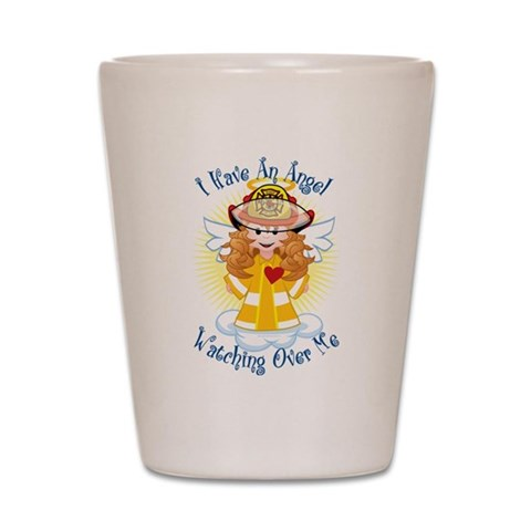 Angel Watching Me Firefighter  Family Shot Glass by CafePress