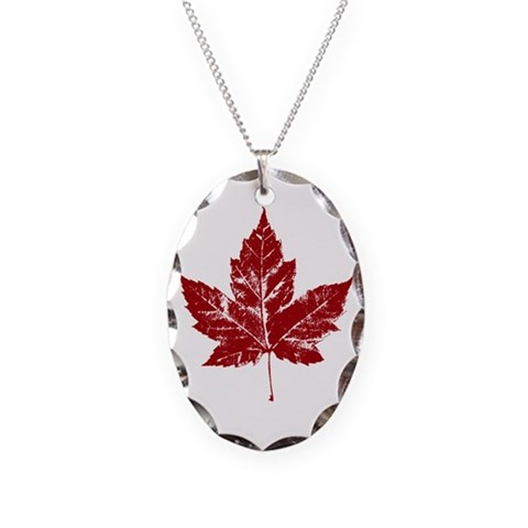 Cool Canada  Vintage Necklace Oval Charm by CafePress