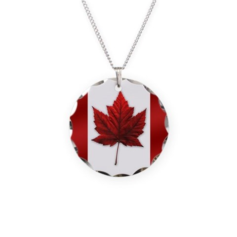 Canada Flag  Cool Necklace Circle Charm by CafePress