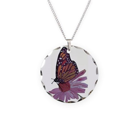 Butterfly Necklace/Circle - SALE Butterfly Necklace Circle Charm by CafePress