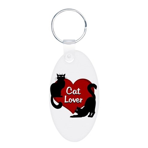 Cat Lover Keychain Cat Lover Gifts Cool Aluminum Oval Keychain by CafePress
