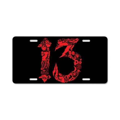 Bad Luck 13  Cat Aluminum License Plate by CafePress