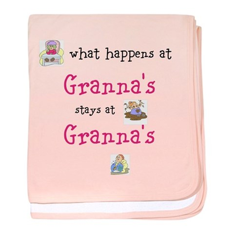 Customizable what happens at grandma's baby blanke Funny baby blanket by CafePress