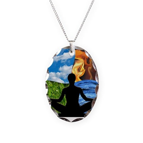 French Flavors Ones True Self, Yoga Necklace Oval Charm by CafePress