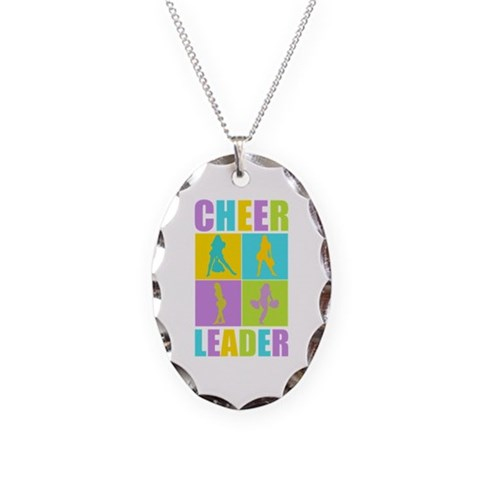 Colorful Cheerleaders  Sports Necklace Oval Charm by CafePress