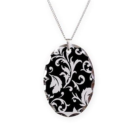 BLACK AND WHITE DAMASK  French Necklace Oval Charm by CafePress