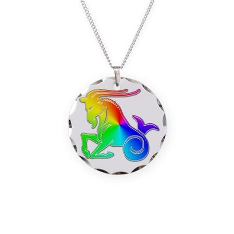 Capricorn Necklace Gay pride Necklace Circle Charm by CafePress