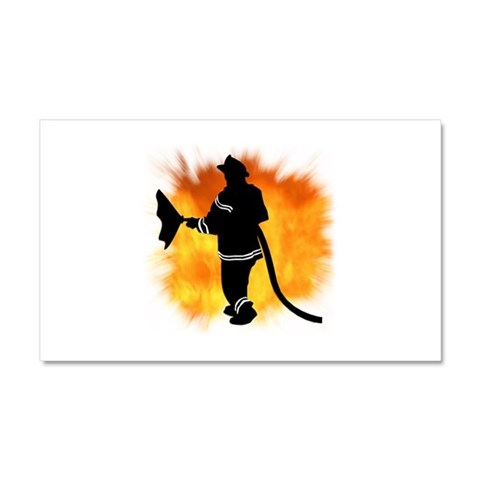 Firefighter Flames  Humor Car Magnet 20 x 12 by CafePress