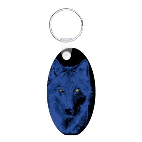 Blue Wolf  Cool Aluminum Oval Keychain by CafePress