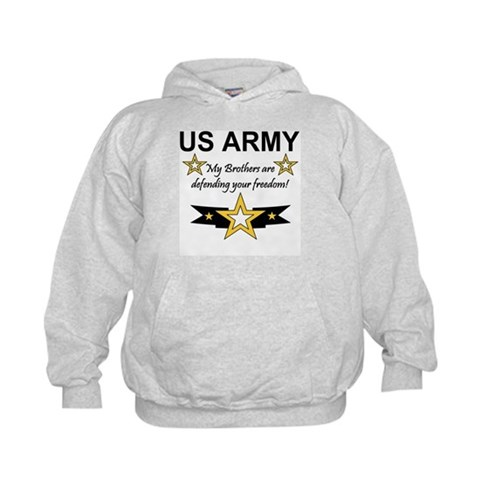 Army Brothers Defending Freed  Military Kids Hoodie by CafePress