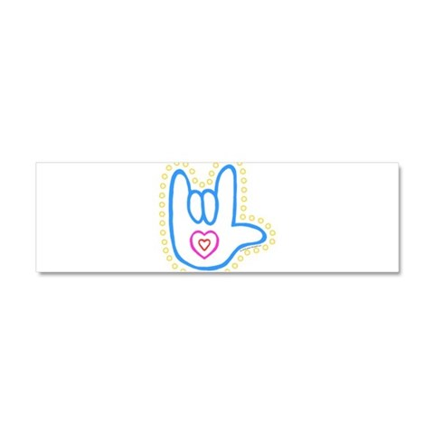 Blue Bold Love Hand  Love Car Magnet 10 x 3 by CafePress