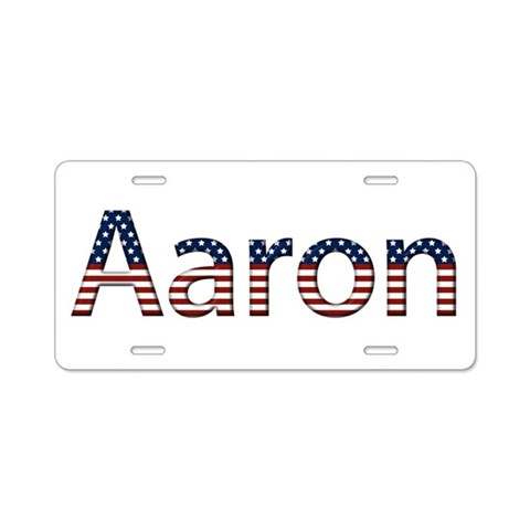 Aaron Stars and Stripes  Aaron Aluminum License Plate by CafePress