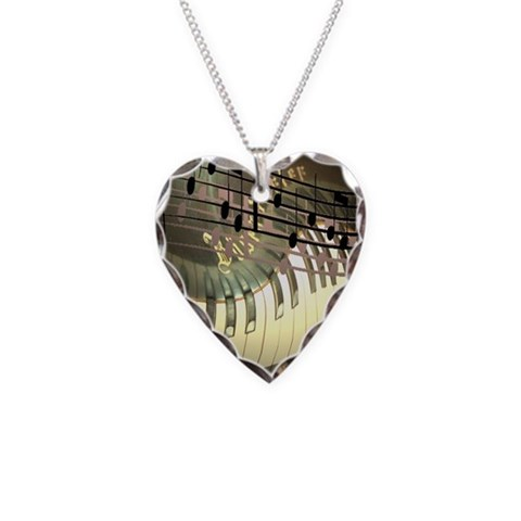 Abstract Piano  Piano Necklace Heart Charm by CafePress