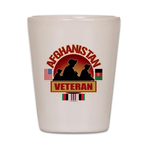 Afghanistan Veteran Flags  Military Shot Glass by CafePress