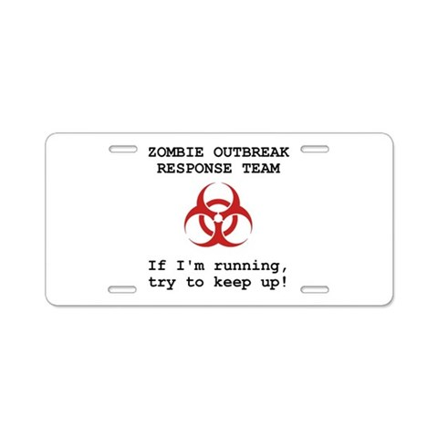 Zombie Response Team  Funny Aluminum License Plate by CafePress