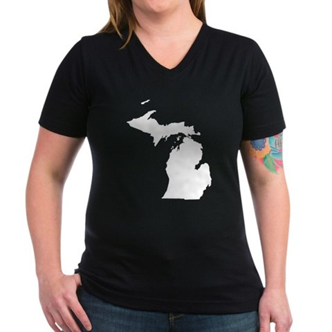 Product Image of Michigan Map Women's V-Neck Dark T-Shirt