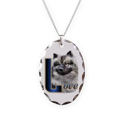 Keeshond Love  Pets Necklace Oval Charm by CafePress