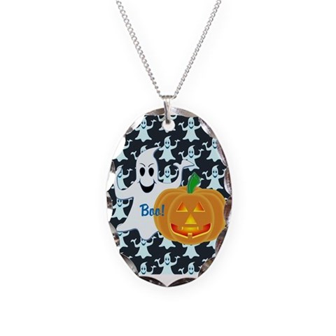 Ghost with Pumpkin Boo DARK  Halloween Necklace Oval Charm by CafePress