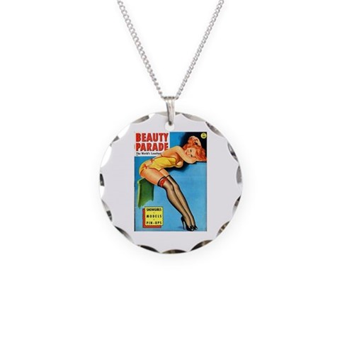 Beauty Parade Pin Up Girl in Yellow Necklace Circl Vintage Necklace Circle Charm by CafePress