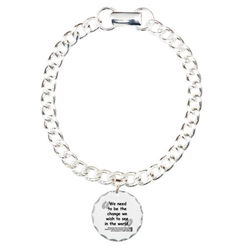 Gandhi Change Quote  Quotes Charm Bracelet, One Charm by CafePress