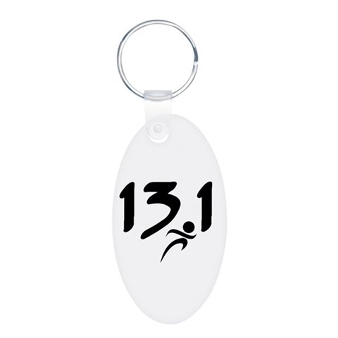 13.1 run  Sports Aluminum Oval Keychain by CafePress