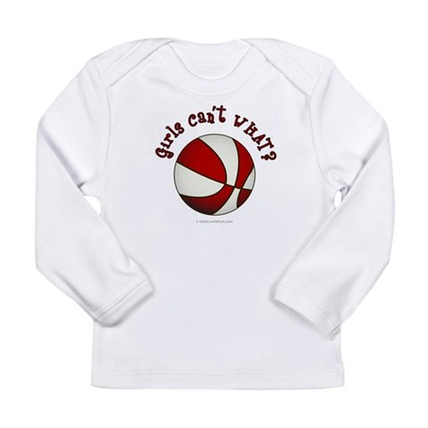 White/Red Basketball  Sports Long Sleeve Infant T-Shirt by CafePress