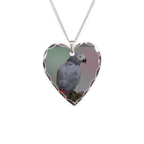 African Grey  Pets Necklace Heart Charm by CafePress