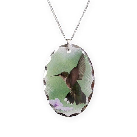 Hummingbird  Hummingbird Necklace Oval Charm by CafePress