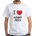 I heart hungry crocs White T-Shirt