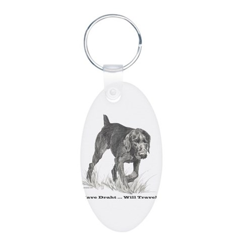 German Wire Haired Pointer sl Aluminum Oval Keycha Pets Aluminum Oval Keychain by CafePress