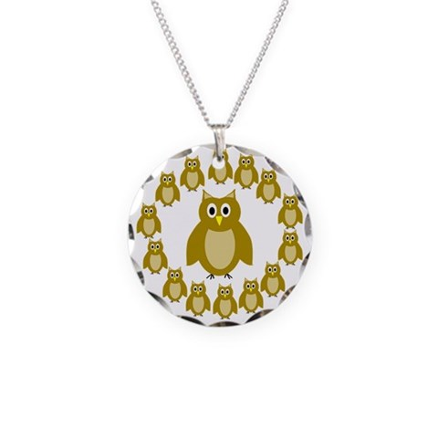 Brown Owl Circle  Owl Necklace Circle Charm by CafePress