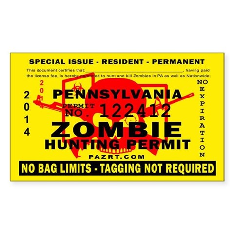Zombie Hunting Permit 10 Pack  Rectangle Sticker 10 pk by CafePress