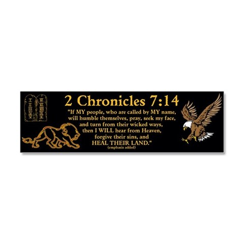 2 Chr 7:14 Lion -  Christian Car Magnet 10 x 3 by CafePress