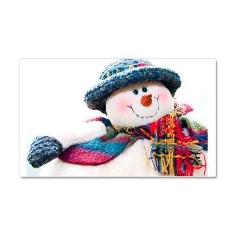 Cute winter snowman with blue hat Car Magnet 20 x Christmas Car Magnet 20 x 12 by CafePress