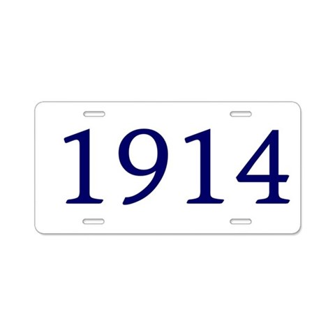 1914  Birthday Aluminum License Plate by CafePress