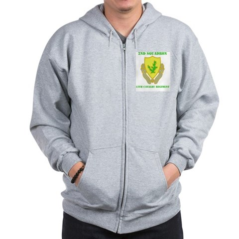 DUI - 2nd Sqdrn - 12th Cavalry Regt with Text Zip Military Zip Hoodie by CafePress