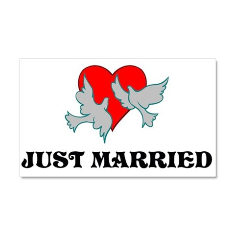 Just Married Just married Car Magnet 20 x 12 by CafePress