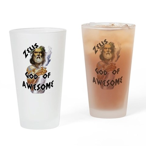 Zeus God of Awesome  Funny Drinking Glass by CafePress