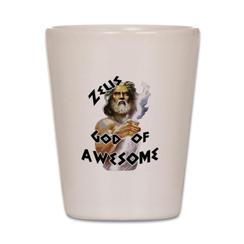 Zeus God of Awesome  Funny Shot Glass by CafePress