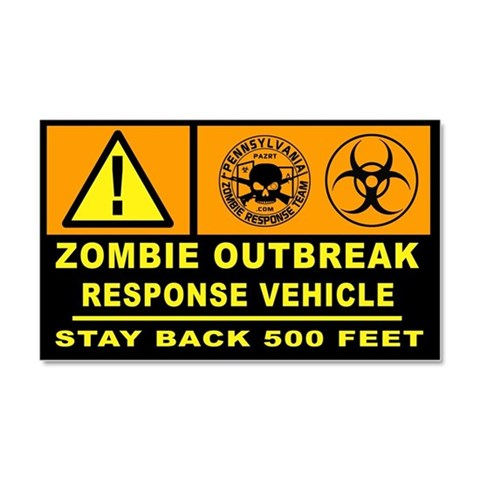 Zombie Outbreak Response Vehicle Car Magnet  Car Magnet 20 x 12 by CafePress