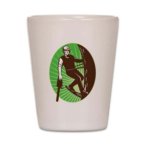 arborist tree surgeon  Retro Shot Glass by CafePress